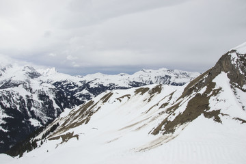 some time spent in switzerland alps while skiing, mostly cloudy weather, but beautiful landscape view of mountain peaks
