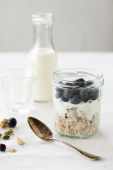 Overnight oats with blue berries
