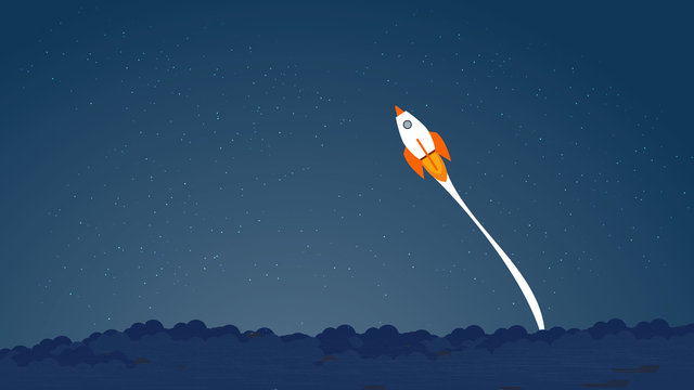 Picture of rocket flying above clouds, business startup banner concept, flat style illustration. Succes concept, pass the limits concept