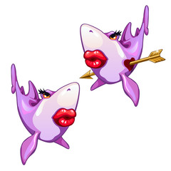 Shark fell in love isolated on white background. Vector cartoon close-up illustration.