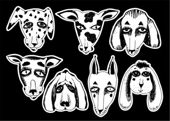 Hand drawn dogs set. Doodle puppy for pet lovers.
