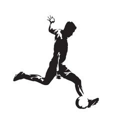 Soccer player kicking ball, isolated vector slhouette. Fooballer running with ball. Football, team sport