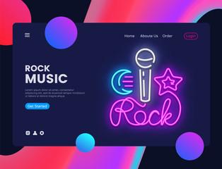 Rock music banner design template vector. Rock Star web banner interface, Neon sign, modern trend design, neon style web banner, bright neon advertising. Vector illustration