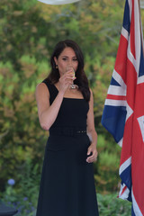 Britain's Meghan, Duchess of Sussex, attends a reception at Glencairn, the residence of Robin Barnett, the British Ambassador to Ireland at the start of a two-day visit to Dublin