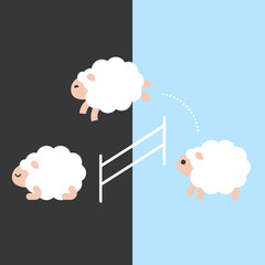 Cute sheep jumping over a fence between day and night, flat design