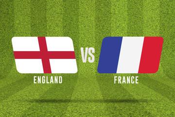 England versus France soccer match. 3D Rendering