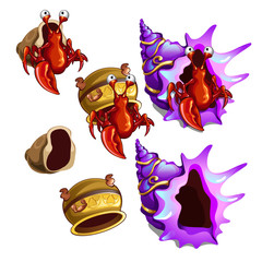 A set of habitats hermit crab isolated on white background. Old pottery and sea shells. Vector close-up cartoon illustration.