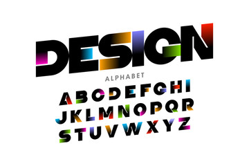 Vibrant color modern font Wall mural