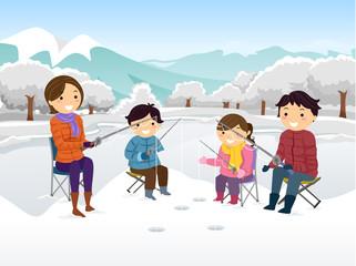 Stickman Family Ice Fishing Illustration