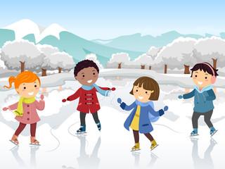 Stickman Kids Ice Skate Illustration