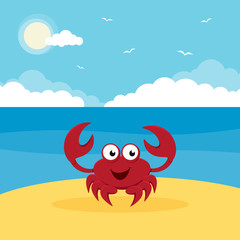 Cartoon crab in the sea