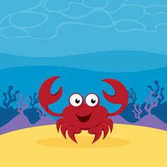 Cartoon crab under the sea