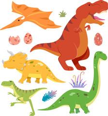 Prehistoric Dinosaur Elements Illustration