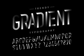Modern Gradient font, alphabet and numbers