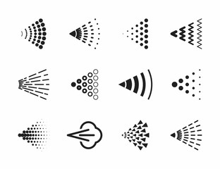 Spray icons set for water, perfume, paint or deodorant spray