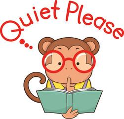 Monkey Library Quiet Please Illustration