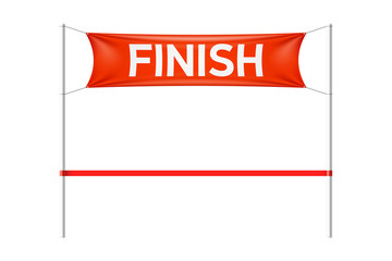 Finish line with red banner and ribbon