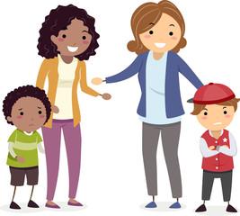 Stickman Kids Mothers Make Up Fight Illustration