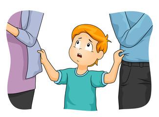 Kid Boy Parents Neglect Illustration Wall mural