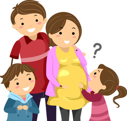Stickman Family Kids Ask Pregnant Illustration