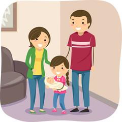 Stickman Kids Family Carry Baby Illustration