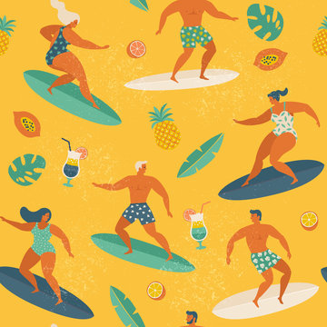 Surfing girls and boys on the surf boards catching waves in the sea. Summer beach seamless pattern in vector.