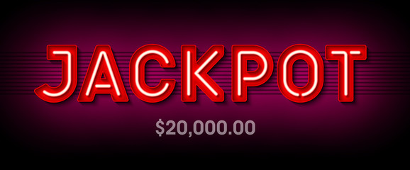 Jackpot, Broadway style bright banner with winning. Casino or lottery advertising template