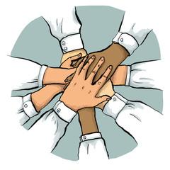 Multikulturelles Teamwork mit gestapelten Händen