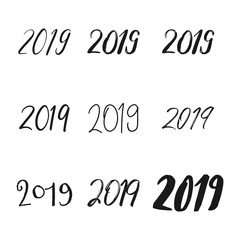 Typography set with calligraphy for 2019 Happy New Year. Vector illustration. New year numbers quote