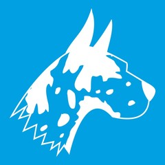Great dane dog icon white isolated on blue background vector illustration