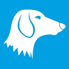 Dachshund dog icon white isolated on blue background vector illustration