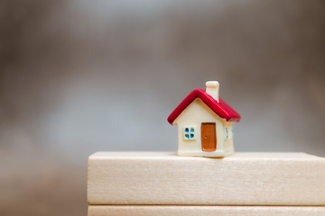 Miniature red house on wooden block using as property and business concept