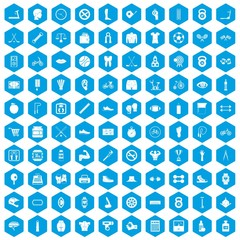 100 kettlebell icons set in blue hexagon isolated vector illustration