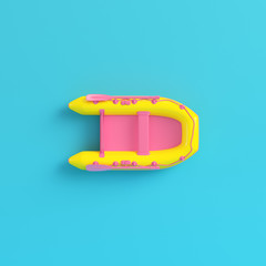 Yellow Inflatable boat on bright blue background in pastel colors