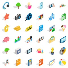 Seo support icons set. Isometric style of 36 seo support vector icons for web isolated on white background