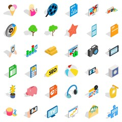 Help for seo icons set. Isometric style of 36 help for seo vector icons for web isolated on white background