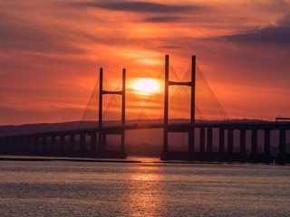 Red Sky Sunset Behind Bridge Silhouette, Severn Bridge, England / Wales