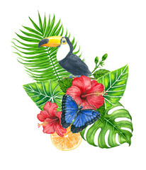 Bouquet of tropical leaves, hibiscus, orange and toucanpainted with watercolors and  isolated on white background.