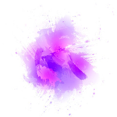 Abstract pink vector watercolor background. The color splashing in the paper.
