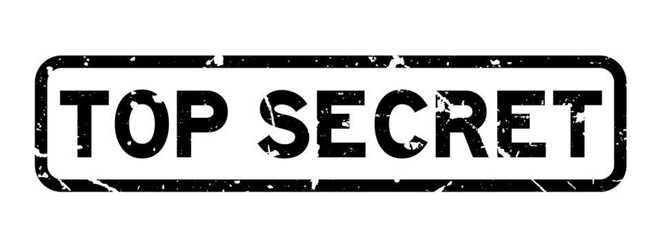 Grunge black top secret word square rubber seal stamp on white background
