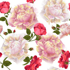 Vector botanical seamless pattern with roses and peonies flowers.Modern floral pattern for textile, wallpaper, print, gift wrap, greeting or wedding background. Spring or summer design.