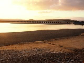 Viaduct over the Kent Estuary near Arnside, Cumbria, at sunset