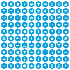 100 productiveness icons set in blue hexagon isolated vector illustration