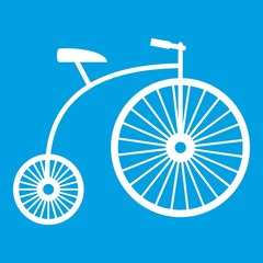 Penny-farthing icon white isolated on blue background vector illustration