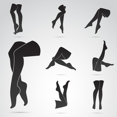 Legs of woman - vector icon set. Different poses.