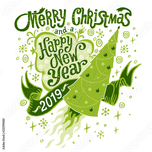 merry christmas and happy new year 2019 greeting card isolated vector illustration poster