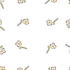 small floral tulips pattern seamless vector white background