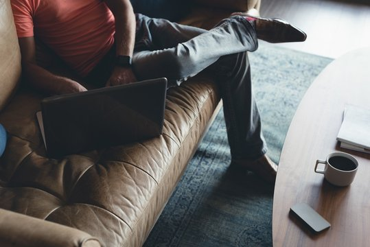 Businessman using laptop on a sofa