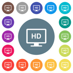 HD display flat white icons on round color backgrounds