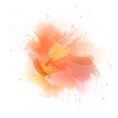 Abstract orange vector watercolor background. The color splashing in the paper.